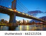 manhattan bridge and new york... | Shutterstock . vector #662121526