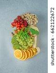 an assortment of fresh fruits ... | Shutterstock . vector #662122672
