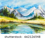 Lake With Mountains. Landscape...