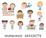 cute kids reading books cute... | Shutterstock .eps vector #662126776