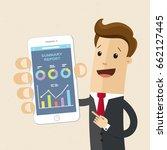 businessman hold a smartphone...   Shutterstock .eps vector #662127445