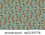seamless pattern with feathers. ... | Shutterstock .eps vector #662133778
