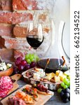 wine snack set. glass of red... | Shutterstock . vector #662134522