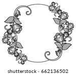 silhouette floral round frame... | Shutterstock . vector #662136502