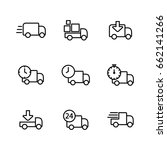 delivery truck icons set thin... | Shutterstock .eps vector #662141266