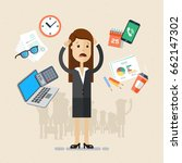 business woman's working day. ... | Shutterstock .eps vector #662147302