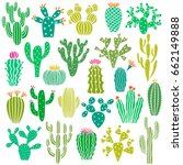 cactus plant and flower vector... | Shutterstock .eps vector #662149888