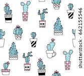seamless pattern with cute hand ... | Shutterstock .eps vector #662155546