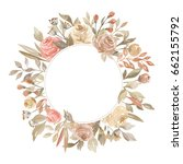 watercolor floral frame with... | Shutterstock . vector #662155792