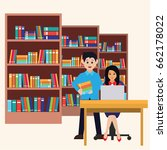 man and woman in a library ... | Shutterstock .eps vector #662178022