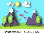 mountain scene paper world.... | Shutterstock .eps vector #662183422