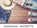 travel preparations with casual ... | Shutterstock . vector #662183776