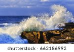 strong rolling wave hits... | Shutterstock . vector #662186992