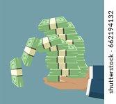 hand holding banknote money... | Shutterstock .eps vector #662194132