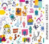 cartoon characters seamless... | Shutterstock .eps vector #662195215
