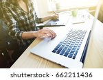 designers hands with tablet and ... | Shutterstock . vector #662211436