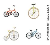 retro  unicycle and other kinds.... | Shutterstock .eps vector #662213275