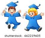 cartoon boy and girl graduation   Shutterstock . vector #662219605