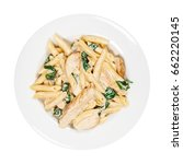 chicken alfredo pasta with... | Shutterstock . vector #662220145