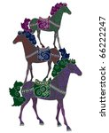 three patterned horses perform... | Shutterstock . vector #66222247
