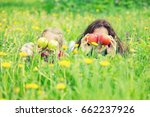 mother and daughter lying on... | Shutterstock . vector #662237926