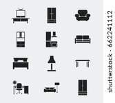 set of 12 editable furniture... | Shutterstock .eps vector #662241112