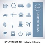 logistic icon set clean vector | Shutterstock .eps vector #662245132