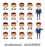 set of businessman emoticons... | Shutterstock .eps vector #662245852