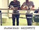 men colleagues coffee break... | Shutterstock . vector #662249572
