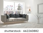 white modern room with sofa.... | Shutterstock . vector #662260882