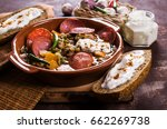 soup with beans  vegetables and ... | Shutterstock . vector #662269738