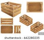 set of wooden box. for fruits... | Shutterstock .eps vector #662280235