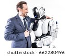 cheerful smiling man embracing...   Shutterstock . vector #662280496