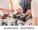 busy technical team working on... | Shutterstock . vector #662296816