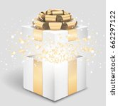 opened gift box with gold bow... | Shutterstock .eps vector #662297122