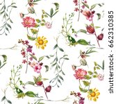 Stock photo watercolor painting of leaf and flowers seamless pattern on white background 662310385