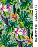 seamless tropical pattern with... | Shutterstock . vector #662311576