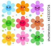 colorful flower icon characters | Shutterstock .eps vector #662323726