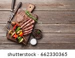grilled vegetables and beef... | Shutterstock . vector #662330365