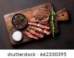 grilled beef steak with spices...   Shutterstock . vector #662330395