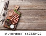 grilled beef steak with spices... | Shutterstock . vector #662330422