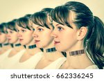 a lot of women in a row with... | Shutterstock . vector #662336245