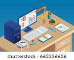 isometric desk | Shutterstock .eps vector #662336626