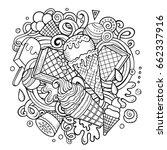 cartoon hand drawn doodles ice...   Shutterstock .eps vector #662337916