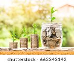 step of coins stacks and coins...   Shutterstock . vector #662343142
