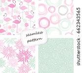set of 4 vintage seamless... | Shutterstock .eps vector #662343565