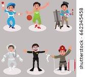 set of cute kids characters ... | Shutterstock .eps vector #662345458