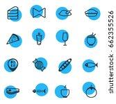 vector illustration of 16 food... | Shutterstock .eps vector #662355526