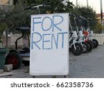 city scooter rentals and signs... | Shutterstock . vector #662358736