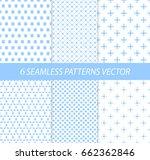 6 Cute Seamless Patterns. Blue...